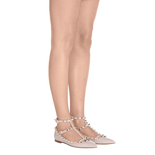 Shoes Studded Rivets Shoes Strap Patent Jushee Toe Nude Women's T Ballerina Hautfarben Flat Classical Pointed qRxABHwAgX