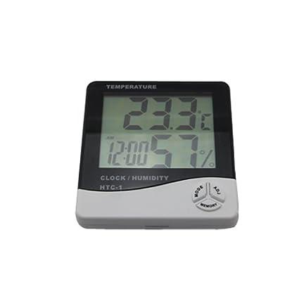 LCD termómetro higrometro medidor de humedad de temperatura de alarma con reloj calendario