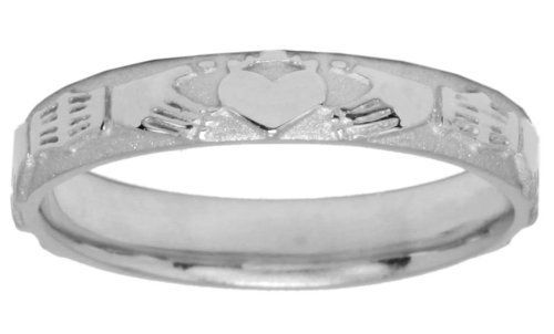 Ladies 14k White Gold Irish Celtic Claddagh Wedding Ring Band (Size 6)