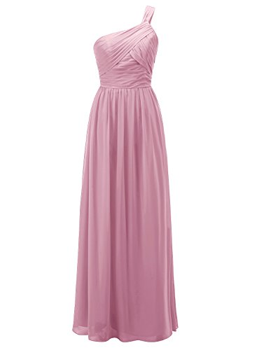 ALAGIRLS Womens One Shoulder Long Bridesmaid Gowns Chiffon Wedding Party Dresses Blush US14