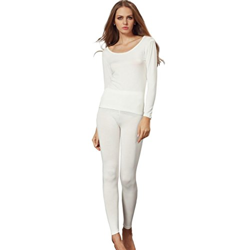 Liang Rou Women's Scoop Neck Stretch Top & Bottom Thin Thermal Underwear Set White M