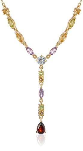 18k Yellow Gold Plated Sterling Silver Genuine Multi Gemstone Y-Necklace, 17'' by Amazon Collection