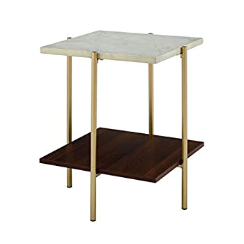 """WE Furniture Living Room 20"""" Sturdy Square Side Table - Marble/Gold"""