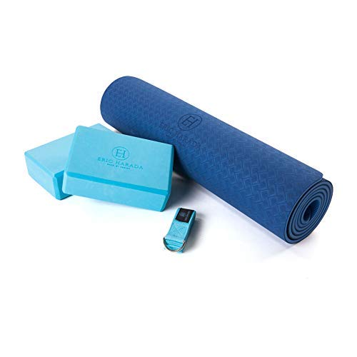 Eric Harada Yoga Mat and Block Starter Set Kit - Includes ¼' Thick TPE Yoga Mat, 2 Yoga Blocks, and Yoga Strap