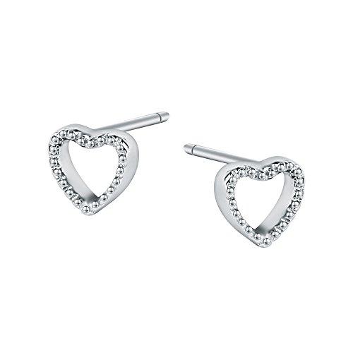 AoedeJ Minimalist Heart Stud Earrings 925 Sterling Silver Earrings Small Heart Stud Earrings for Girls and Women (Style (Silver Butterfly Heart)