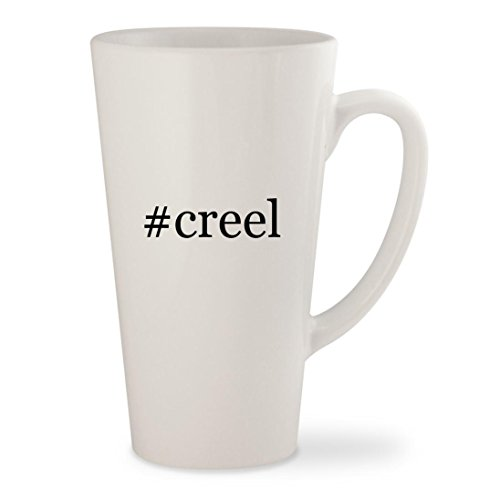 #creel - White Hashtag 17oz Ceramic Latte Mug Cup (Antique Wicker Creel Fishing)