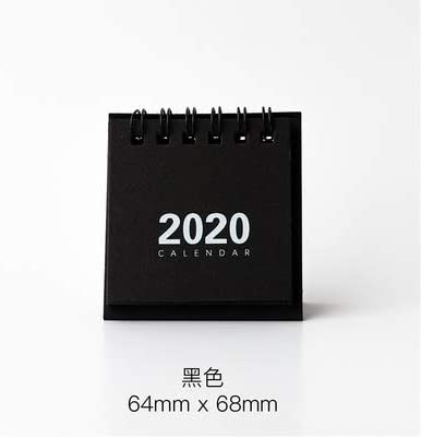 Tischkalender Kalendarien 2020 Creative-Solid Color-Serie Mini-Tischkalender DIY Portable Desktop-Kalender Liste Tägliche Terminplaner zu tun (Color : Black)