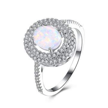 - Fine Jewelry Fine Rings - Opal Stone Platinum Plated Women Rings Unique Zircon Finger Ring Jewelry Gift - 9 -