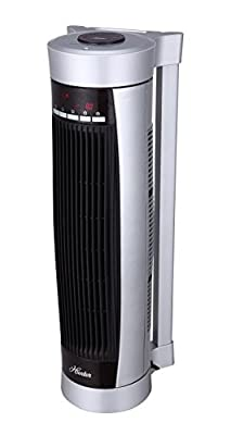 Hunter HPH15-E(Silver) Vertical and Horizontal Oscillating Digital Ceramic Heater with Remote Control (Silver)