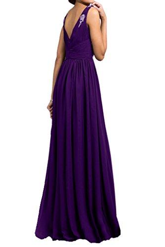 Abendkleider Damen Violett Festkleider A Ivydressing Ausschnitt Ballkleid Traeger V Linie 8SwAAqgax