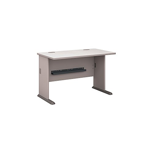Hutch Modular Office Furniture - Bush Business Furniture Series A 48W Desk in Pewter and White Spectrum