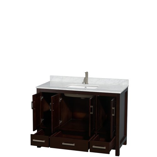 Wyndham Collection Sheffield 48 inch Single Bathroom Vanity in Espresso, White Carrera Marble Countertop, Undermount Square Sink, and No Mirror high-quality