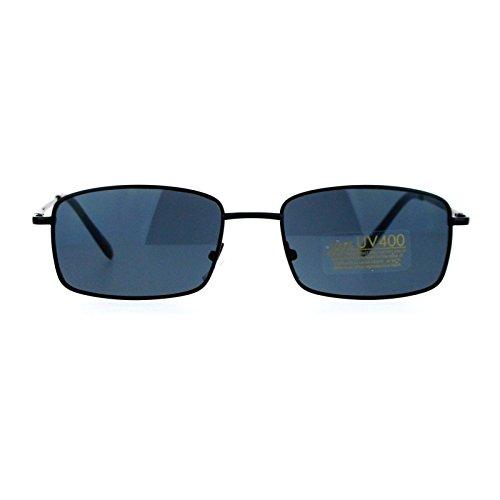 SA106 Mens Snug Minimal Narrow Rectangular Metal Rim Sunglasses - Minimal Sunglasses