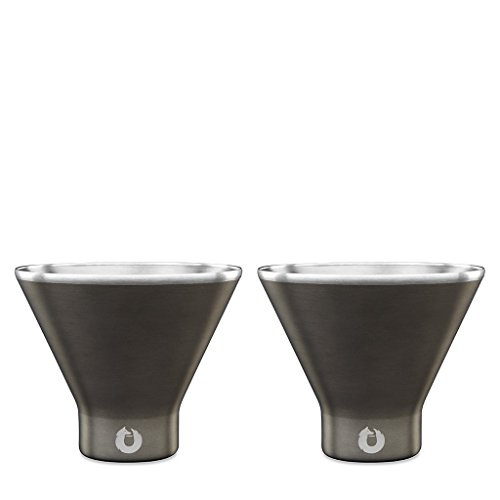 SNOWFOX Insulated Stainless Steel Stemless Martini Glass, Set of 2, Olive Grey