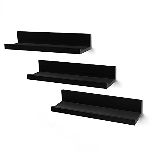- Americanflat Set of 3-14 Inch Floating Wall Shelves - Black