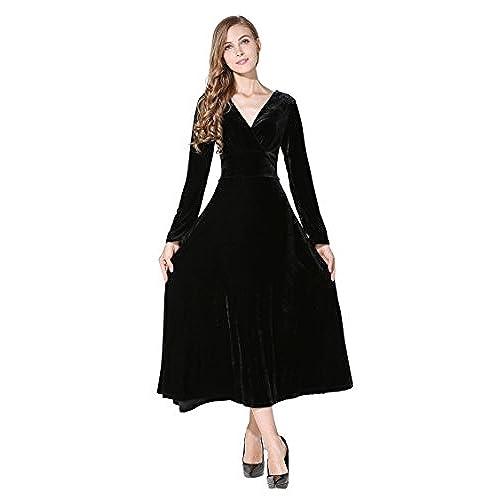 Womens Long Sleeve Big Hem Flouced Velvet Stretchy Party Dress Black XX-Large