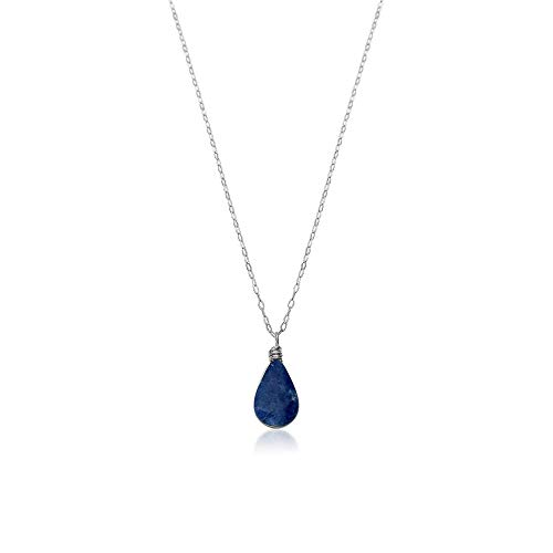 Dainty Handmade Pendant Necklace in Sterling Silver with Blue Sodalite Teardrop Stone and 18