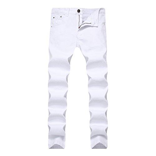 Leward Men's Skinny Slim Fit Stretch Straight Leg Fashion Jeans Pants (34, White)