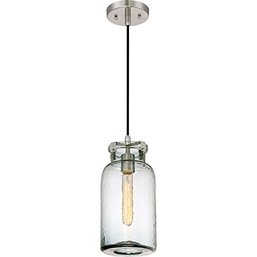 (Quoizel QPP2816BN Nob Hill Blue Hammered Glass Mini Pendant Ceiling Lighting, 1-Light, 100 Watt, Brushed Nickel (14