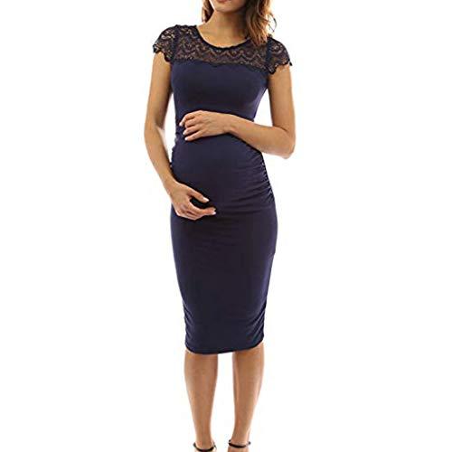 e0c9002f5e ❤️Youliwj❤️Women Crewneck Crochet Lace Inset Ruched Sheath Maternity Dress  Dark Blue