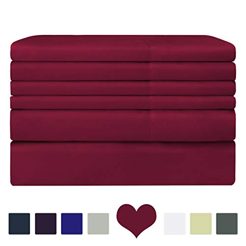 BYSURE 6 Piece Hotel Luxury Bed Sheets Set - Ultra Soft 1800 Thread Count Double Brushed Microfiber, Deep Pockets, Hypoallergenic, Wrinkle & Fade Resistant Bedding Set (Full,Burgundy)