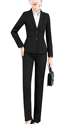 Women Two Pieces Blazers Work Office Lady Suit Business Blazer Jacket&Pant (Black-6803, S)