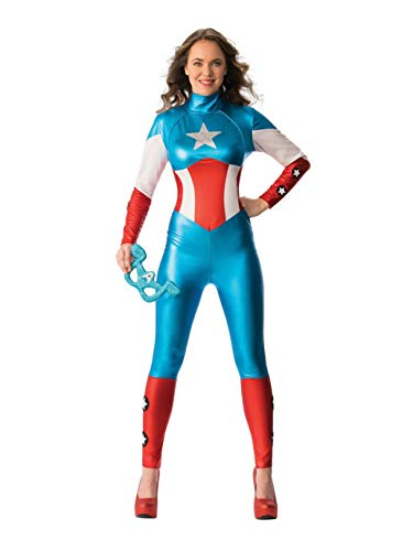 Secret Wishes Women's Marvel Universe Secret Wishes American Dream Costume Cat Suit and Eye Mask, Multicolor, Large