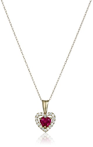 Gold Created Ruby Heart (10K Yellow Gold Created Ruby Heart with Created White Sapphire Pendant Necklace, 18