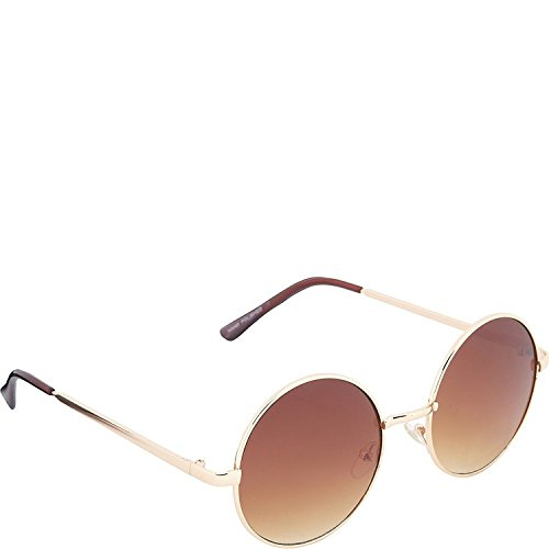 POP Fashionwear 60s Peace Hippie Retro Round Sunglasses (GoldGradient Brown
