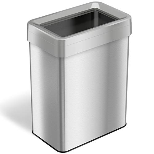 iTouchless 18 Gallon Dual-Deodorizer Open Top Trash Can, Rectangular Shape, Commercial Grade Stainless Steel, 68 Liter Recycle Bin, Silver ()