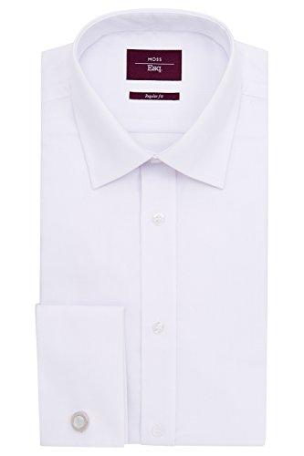 Mini Herringbone Non Iron (Moss Esq. Men's Regular Fit White Double Cuff Mini Herringbone Non Iron Dress Shirt 19 White)