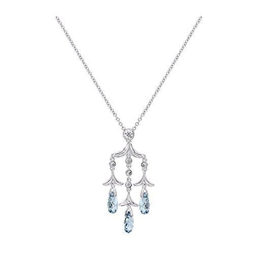 Nicole Miller Briolette Chandelier Rhodium/Blue Pendant Necklace