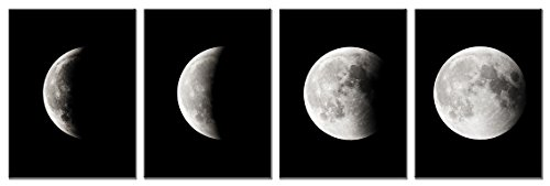 Wieco Art Moon Large Modern Giclee Canvas Prints Artwork Abstract Space Pictures Paintings on Stretched and Framed Canvas Wall Art Ready to Hang for Living Room Bedroom Home Office Decorations (Framed Canvas Paintings)