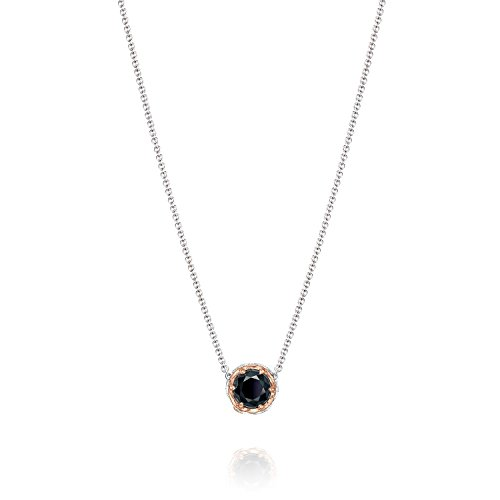 Tacori SN204P19 Classic Rock Sterling Silver Black Onyx Crescent Station Necklace, 17