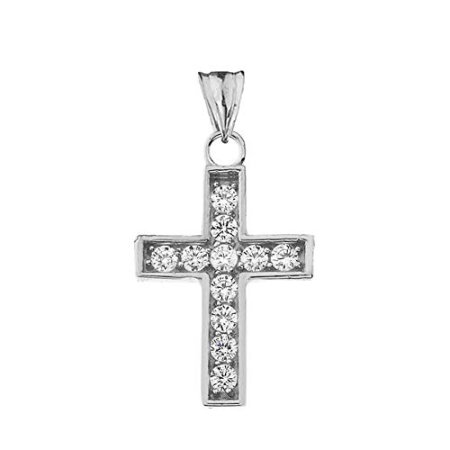 Dainty 14k White Gold Diamond-Accented Cross Charm Pendant