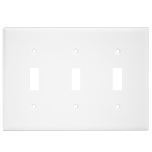 Enerlites 8813-W 3-Gang Toggle Wall Switch Plate, Standard Size, Unbreakable Polycarbonate, White