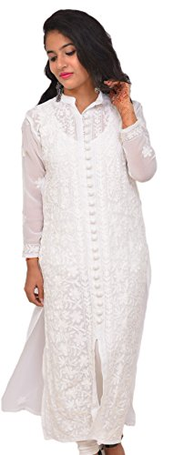 See Through Hand Embroided Georgette Chikan Kurti/Tunic/Top for Woman (Chest: Body 40-Garment 44, Full White Buttoned)