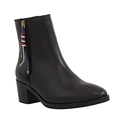 Tommy Hilfiger Corporate Tassel Mid Ankle Boots For Women - 36 EU, Black