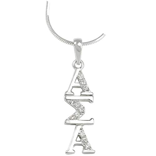 Alpha Sigma Alpha ASA Sterling Silver Lavaliere Set with Lab-Created Diamonds ()