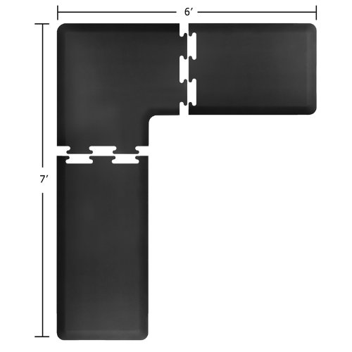 WellnessMats Puzzle Piece Collection 2 Foot Wide L Series Black Anti-Fatigue 7 x 6 Foot ()