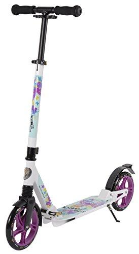 STAR-SCOOTER® Premium City Scooter für gelenkschonenden Komfort auch auf dem Schulweg ★ 205mm Vollgefederte Fully Edition ★ Weiß & Türkis