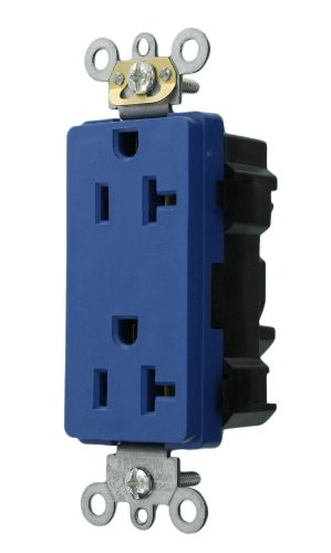 Leviton M1636-B Lev-Lok Modular Wiring Device 20-Amp, 125-Volt, Decora Plus Duplex Receptacle, Commercial Grade, Straight Blade, Self Grounding, Blue