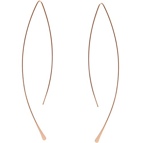 - Humble Chic Curved Fish Hoops - Hypoallergenic Lightweight Upside Down Open Wire Needle Drop Dangle Threader Earrings, 18K Rose - 3