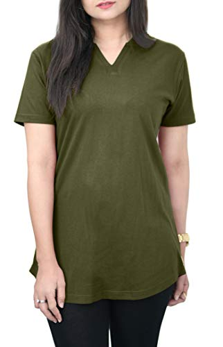 Cotton T-Shirt for Women: 100% Cotton Tee Shirt, V-Neck Top, Plain T-Shirt, Breathable, Soft and Comfortable T Shirt for Women, Casual Style Top, Plain Tee by HAK (Olive Green, Large)