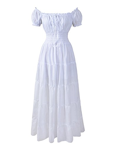 Renaissance Dress Costume Pirate Peasant Wench Medieval Boho Chemise (Regular, White) (Pirate And Wench)