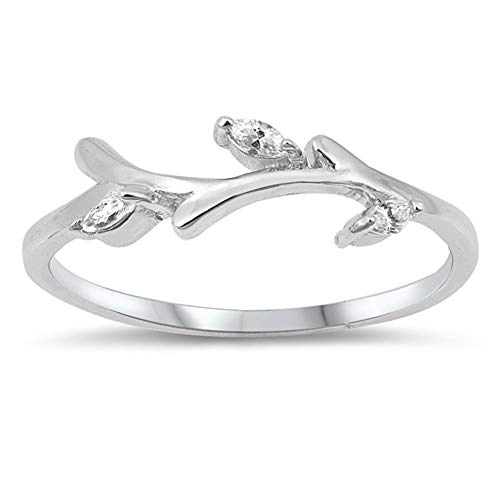 (CloseoutWarehouse Clear Cubic Zirconia Branch Band Ring Sterling Silver Size 7)
