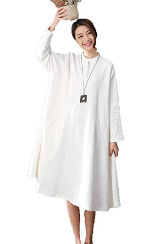 5ce9dd64f4a FantasyLinen White Linen Casual Dress For Womens