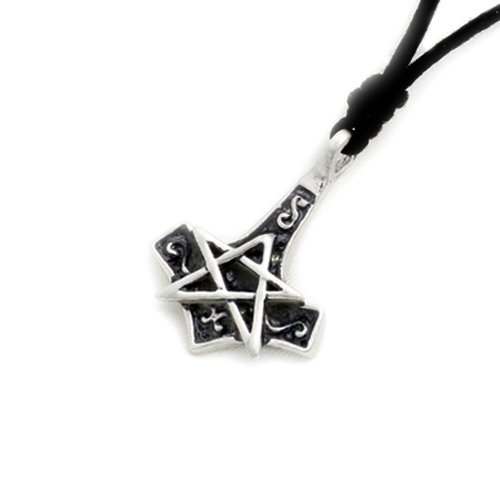(Hammer Silver Pewter Charm Necklace Pendant Jewelry )
