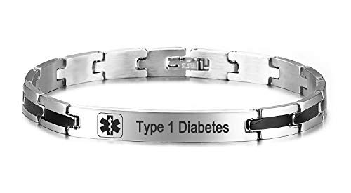JF.JEWELRY Pre-Engraved Type 1 Diabetes Medical Alert ID Bracelet for Men and Women with Stainless Steel