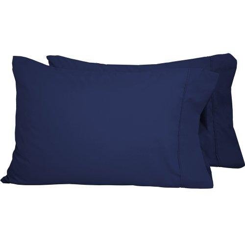 oft Microfiber Pillowcase Set - Double Brushed - Hypoallergenic - Wrinkle Resistant (Standard Pillowcase Set of 2, Dark Blue) (Allersoft Cotton)